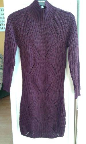 AX Paris Robe en maille tricotées brun pourpre acrylique