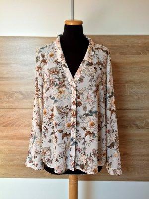 Beige Blumen Bluse, Hemd von Zara, Gr. XL (NEU)