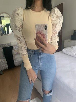 Beige Bluse mit Spitze von Zara