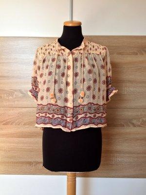 Beige Boho Shirt, Bommel Bluse von Zara, Gr. XS (NEUw.)