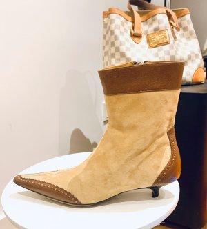 Beige -braune 3x Echtes Leder/ Wildleder Stiefeletten/ Ankle Boots v Karoline, made in  Gr. 38