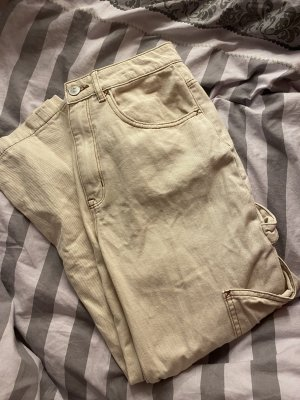 H&M Workowate jeansy beżowy-jasnożółty