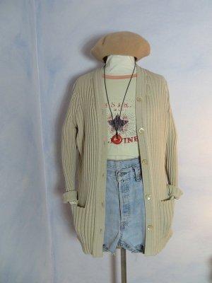 Beige Chunky Rippen Grobstrick Jacke Long Strickjacke Taschen - Größe L - 100% Wolle Warm