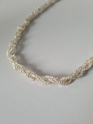 beige gedrehte Perlenkette vintage