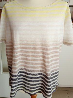 Beige-gelb-grau gestreiftes Kurzarm-Shirt von Cecil Gr.L