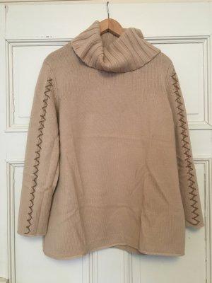 Beige gestrickter Rollkragen Pullover