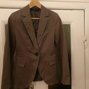 Zara Basic Tailleur gris brun-beige coton