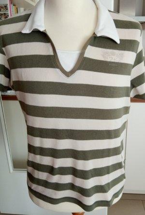 Beige- khaki gestreiftes Kurzarm-Shirt von Cecil Gr.L