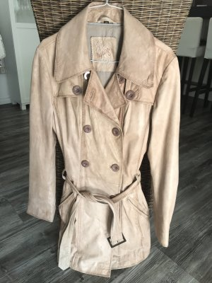 Maze Leather Coat cream-beige