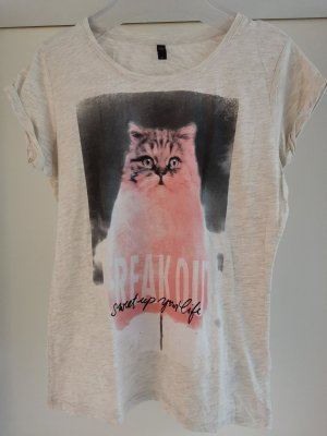 Beige meliertes Shirt mit Print Katze und Slogan Gr. M