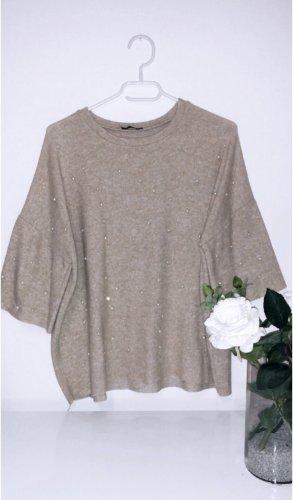 Beige perlen zara sweater sweatshirt weich cozy kuschelig oversized