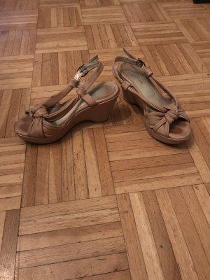 Plateauzool sandalen beige