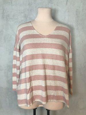Beige Rosa ONLY Stripe V Neck Pullover Knit Strickpullover
