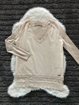 Beige/Rosa Strickpullover mit Cut Outs
