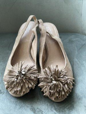 Beige Sandaletten Velours