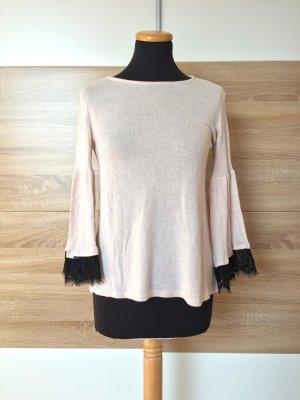 Beige schwarz Pullover Volant Spitze von Reserved, Gr. XS (NEUw.)