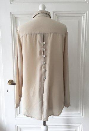 Beige strukturierte Bluse mit Knopfleiste im Rückenbereich
