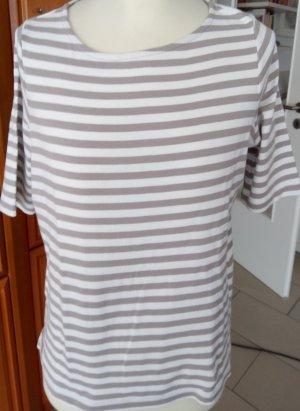 Beige-weiß gestreiftes Kurzarm Shirt von Bonita Gr. M