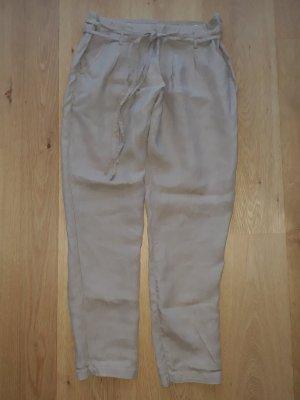 C&A Lniane spodnie beżowy-piaskowy brąz Len