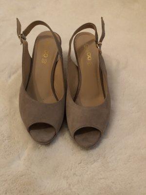 Vera Pelle Platform High-Heeled Sandal beige