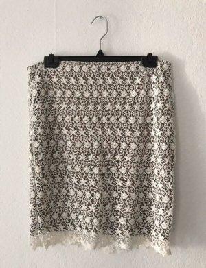 Only Falda de encaje blanco puro-marrón grisáceo