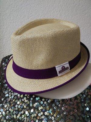 Chapeau de paille beige-violet