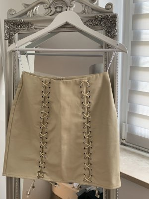 Missguided Faux Leather Skirt cream