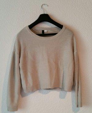 Beiger Oversize Cropped Pullover