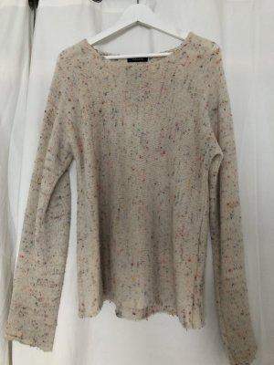 Sweter z dzianiny kremowy