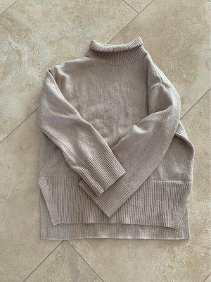 H&M Długi sweter kremowy-jasnobeżowy