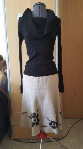 Falda de lino beige-negro Lino