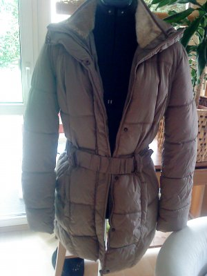 Quilted Coat sand brown polyester