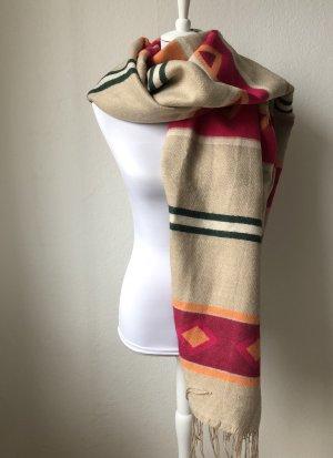 H&M Bufanda de lana beige claro-magenta