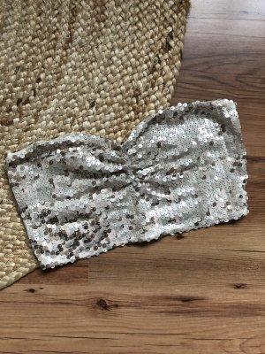 Gina Tricot Top z dekoltem typu bandeau jasnobeżowy-złoto