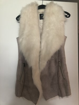 Primark Fake Fur Vest natural white-beige
