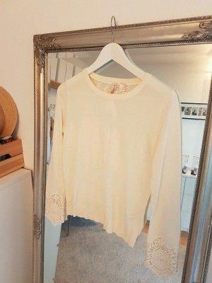H&M Szydełkowany sweter kremowy-beżowy