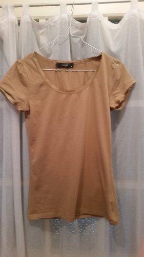 beiges T-Shirt mit seidigen Abschlüssen