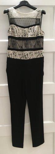 Bel Air Jumpsuit Overall schwarz weiß Spitze 36 S T1