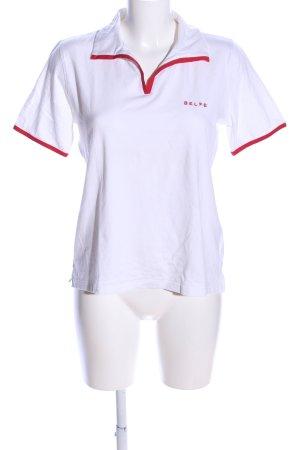 Belfe 1920 Polo-Shirt weiß-rot Schriftzug gedruckt Casual-Look