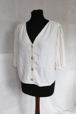 Beliebte Leinen Bluse von Zara TRF Größe S 36 38 Perlmutt Knöpfe