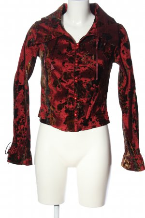 believe Long Sleeve Blouse red-black abstract pattern extravagant style