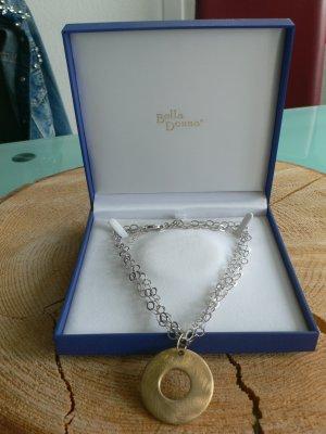 Bella Donna Echt Silberkette mit goldenem Anhänger
