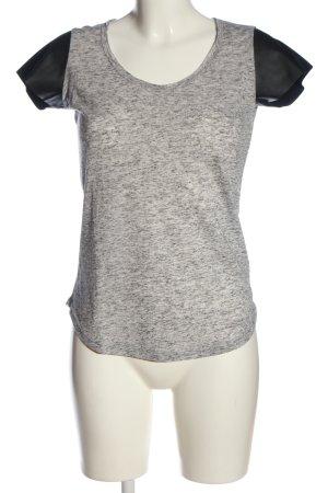 Bella Ragazza T-shirts en mailles tricotées gris clair-noir moucheté