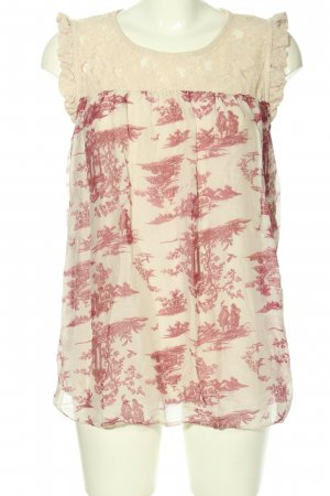 Bellambia Blusentop creme-pink Allover-Druck Casual-Look