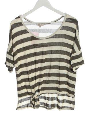 Bellambia Koszulka z dzianiny w kolorze białej wełny-jasnoszary Wzór w paski
