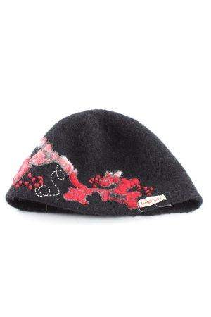 bellanatur Czapka typu beanie czarny-czerwony Wzór w kwiaty W stylu casual