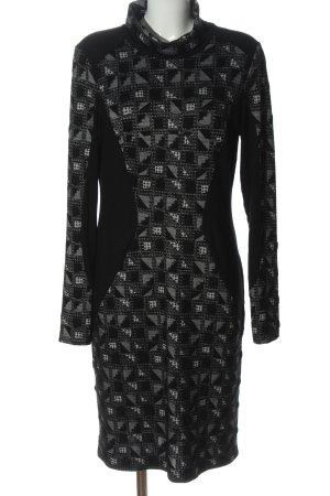 bellanatur Robe à manches longues noir-gris clair motif graphique