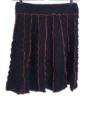bellanatur Falda de lana negro-rojo look casual