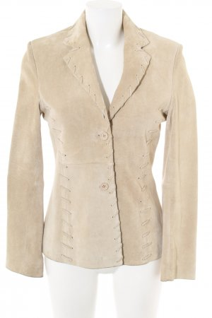 Belle Leder-Blazer creme Business-Look