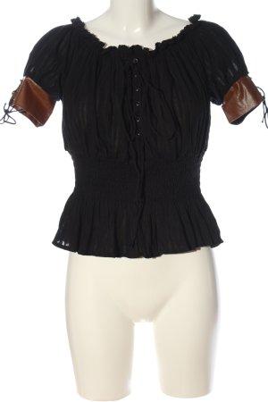 Belle Poque Bluzka typu carmen czarny-brązowy W stylu casual